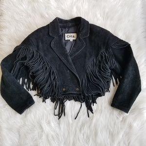Vintage Black Leather Fringe Crop Moto Jacket